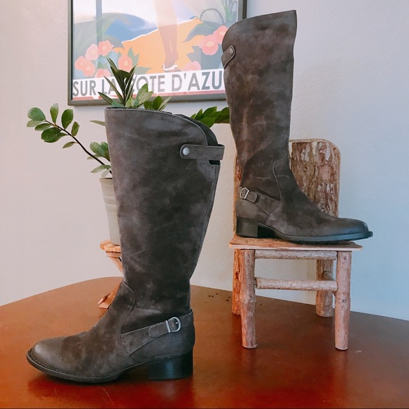 019ea99c747f Born Shoes -  BORN  Cupra Knee High Boots in Grey Brown Suede